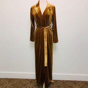 Long Gold Velvet Robe w/ Belted Waist fully lined